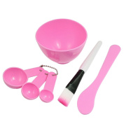 Well-Goal Ladies Cosmetic 4 in 1 DIY Facial Mask Bowl Brush Stick Measuring Spoon Pink