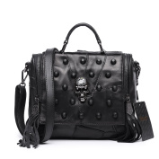 Jonon Women's Genuine Leather Sheepskin Studded Skull Shoulder Bag Crossbody Bag