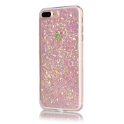 iPhone 7 Plus Case, NOKEA Luxury Glitter Sparkle [Gold Foil Embedded] [Bling Crystal Clear] Flexible Soft Rubber Gel TPU Protective Shell Bumper Case Cover for iPhone 7 Plus 14cm