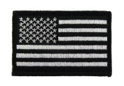 USA American Flag Black and White Tactical Hook and loop Fully Embroidered Morale Tags Patch