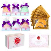 6 X-Large Bath Bombs & Under Eye Masks Set - Revel & Glow Unique Gift for Women - USA Made - Moisturising Cocoa Butter, Epsom Salt & Essential Oils - Natural, Fragrant, Fizzy, Bath Bubbles Alternative
