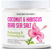 Bath Salts for Relaxation with Coconut, Hibiscus, Dead Sea Salt and Shea Butter - Great for joint and muscle pain relief, mineral bath soak and foot soak, stress reduction 590ml by Pure Body Naturals