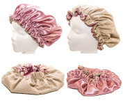 Large 60cm - Rose Satin & Microfiber Waterproof / Water Repellent Shower Cap