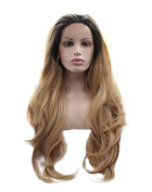 Kalyss Long Curly Wavy Dark Roots Ombre Black to Brown Blonde Synthetic Lace Front Wig 60cm