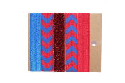 Banded2gether Women Girl Accessories 5pc Red Blue Elastic Band Hair Ties 4119