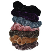 Bzybel Thick Solid Velvet Stretch Pony Elastics Ponytail Holders Hair Ties