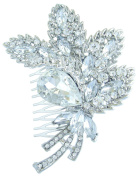 Sindary Wedding Headpiece Classic 11cm Bridal Leaf Hair Comb Clear Austrian Crystal HZ4037C1