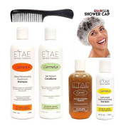 Etae Natural Products Carmelux Shampoo, Conditioner, Gloss, E'tae Carmel Treatment Combo Kit (4 items) w/ FREE Shower Cap and Comb