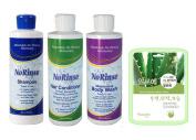 No Rinse Shampoo, Conditioner & Body Wash Set w/ Aloe Mask