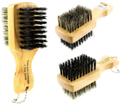 Mini Two Side Brush 100% Pure Boar Soft / Hard Bristles Moustache Beard, Fade 13cm