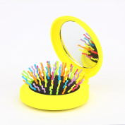 Candy Brush Mini Folding Detanging Hair Brush with Mirror Travel Compact Packet Hairbrush,
