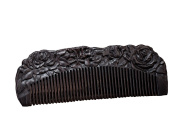 Icegrey Love of Rose Black Sandalwood Handmade Hair Comb