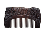 Icegrey Handmade Carved Swan Black Sandalwood Wooden Comb Hair Brush