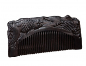 Icegrey Carved Two Fish Pices Black Sandalwood Handmade Hair Comb