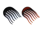 yueton 2pcs Black and Coffee Dish Hair Styling Tool Bumpits Bouffant Braid Ponytail Hair Comb Bun Maker