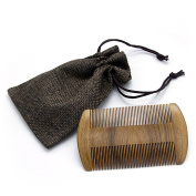 Beard Comb Handmade Green Sandalwood Comb Pocket Comb - Natural Fragrance, Anti-Static & No Snag Best for Beard & Moustache