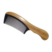 Detangling Brush,New Star Handmade An-static Black Buffalo Horn Comb with Sandalwood Handle