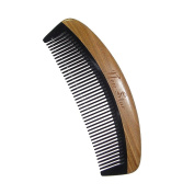 Wide Tooth Comb,New Star Anti-static Handleless Black Handmade Buffalo Horn Comb with Green Sandalwood