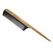 Fine-tooth Comb,New Star Anti-static Black Buffalo Horn Comb Rat Tail Comb with Sandalwood Handle