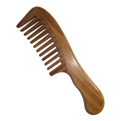 Wide Tooth Comb,New Star Anti-Static Wooden comb Wavy Handle Green Sandalwood Comb