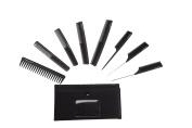 HYOUJIN Black Carbon Professional Styling Comb Set, Salon Hair Cutting Comb Set, Stylist Hairdresser Barber Comb Set 8pcs