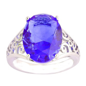 Empsoul 925 Sterling Silver Natural Chic Filled Amethyst Topaz Engagement Ring