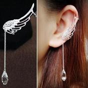 Hearts Shop Charm Elegant Angel Wing Crystal Earrings Drop Dangle Ear Stud Cuff Clip