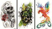 Wonbeauty Fake and real temp tattoo stickers 3pcs Halloween temporary tattoos in one package, it including terrible skulls and colourful phoenix.