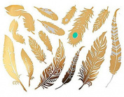 Gold Feather Body Art Temporary Tattoos - 15 Waterproof Art Metallica