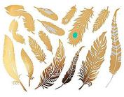 Gold Feather Body Art Temporary Tattoos - 15 Waterproof Art Metallica