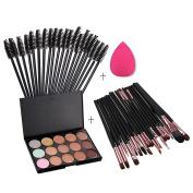 Andercala 15 Colour Makeup Concealer Contour Palette + 20pcs Eye Makeup Brush/coffee + 50pcs Eyelash Brush + 1pc Sponge 5039-1