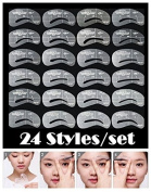 24 Styles Eyebrow Stencils Eye Brow Grooming Shaping Templates DIY Makeup Beauty Tools