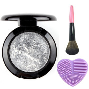 Single Baked Eye Shadow Makeup Palette Shimmer Metallic Glitter Eyeshadow Palette, Pink Makeup Brush, Washing Brush Egg Cleaner