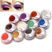 12 Colour Mineral Pearl Loose Eyeshadow Powder Set #F