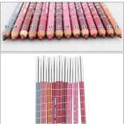 Fashion Gallery Professional Lipliner Pencil Waterproof Wooden Blend Lip Liner Pencil 15CM 12 Colours Makeup Lipstick Tool