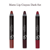 Golden Rose Creamy Matte Lipstick Crayon 3-Piece Set, Dark Set