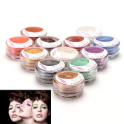 12 Colour Individual Mineral Loose Powder Set for Eye / Face / Body Makeup