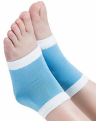 Cracked Heel Repair Sleeve with Essential Oil Infused Gel Cup by New England Natural Beauty Blue Toeless Sock Design Fits Both Men and Women