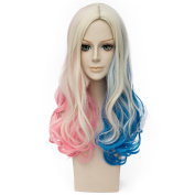 Probeauty Movie with Blonde Wavy Curly Cosplay Wigs for Suicide Squad Harley Quinn Wig, Pink Blue