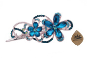 Totoroforet Geminate Flowers Victoria/ Retro Style Bronze Rhinestone Hair Clip/ Claw Clip (Large Size)-Sapphire Blue