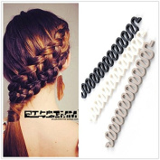 2PC Random Colour Wonder French Magic Hair Clip Braider Braid Stylist Queue Twist Plait Hair Braiding Tool Holder Roller DIY Bun Maker Hairstyle Styling Accessory Fashion Salon