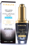 Vinalta Hyaluronic Acid Serum - Anti-Ageing Serum for Face - Reduces Wrinkles, Lines, and More - With Organic Aloe Vera, Jojoba Oil and More - 30ml