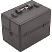 SUNRISE Makeup Artist Train Case C3000, Two 3 Tier Trays, Locking with Brush Holder and Shoulder Strap, Black Stripe