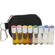 Essential Oil Roller Ball Pocket Doctor Keychain Kit w/ (8) 3ml Glass Roll-on Bottles filled w/ Artisan Blends
