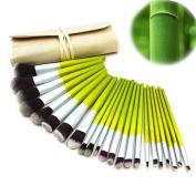 DE'LANCI 23Pcs Natural Bamboo Make Up Brushes Kabuki Face Eyeshadow Brush Set Concealer Powder Contouring Make Up Brush Kit Cosmetic Foundation Blending Contour Makeup Brush Tools with Pouch Bag