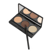 AMarkUp 3 Eyebrow Colour Eyeshadow Contour Face Powder Foundation Makeup Blush Concealer Palette with Double Brush Mirror