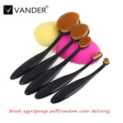 Vander 5 Pcs Oval Makeup Brush Set Professional Foundation Contour Concealer Blending Cosmetic Brushes (Black)+ 1pc Cleaning Glove MakeUp Brush Washing Egg and Sponge Puff