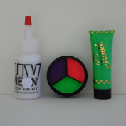 Sinister Clown Make Up Set for Halloween w/ UV Neon 3 Colour Cream Palette, Body Paint, & Hair Gel, Black Light, Rave, Party