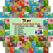 {Entel} 72 pcs combo-pack, Premium Korean Essence Facial Mask Sheet (12 Types x 5 pcs), 5 Chemical Free : No Paraben, No Silicon, No Mineral Oil, No Artificial Colours,No Ethanol ...