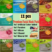 {Ental} 12 pcs combo-pack, Premium Korean Essence Facial Mask Sheet (12 Types x 5 pcs), 5 Chemical Free : No Paraben, No Silicon, No Mineral Oil, No Artificial Colours,No Ethanol